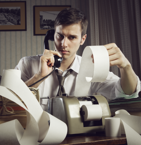 Save time and tax fees - image of an anxious man with an adding machine